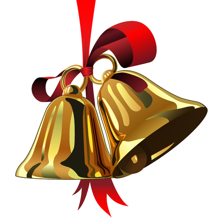 Pair of Christmas bells hanging on red ribbon isolated on white background.