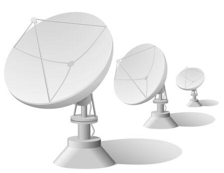 Ilustración de vector de fila de platos de satélite aislado sobre fondo blanco.  Ilustración de vector