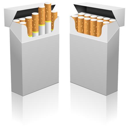 empacar: Inaugurado en blanco realista paquete de cigarrillos vector plantilla.