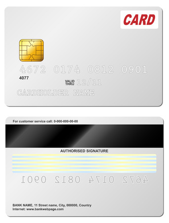 Blank credit card vector template. Front and back view. Vector