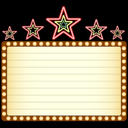 Blank film, theater of casino tent met neon sterren boven geïsoleerd op zwarte achtergrond. Vector Illustratie