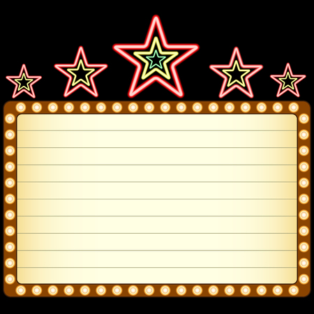 Blank movie, theater or casino marquee with neon stars above isolated on black background. Vector