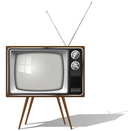 Vector illustration of old-fashioned four legged TV set isolated on white background.