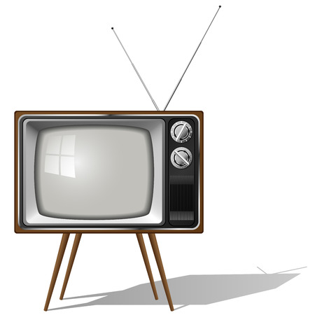 антенны: Vector illustration of old-fashioned four legged TV set isolated on white background.