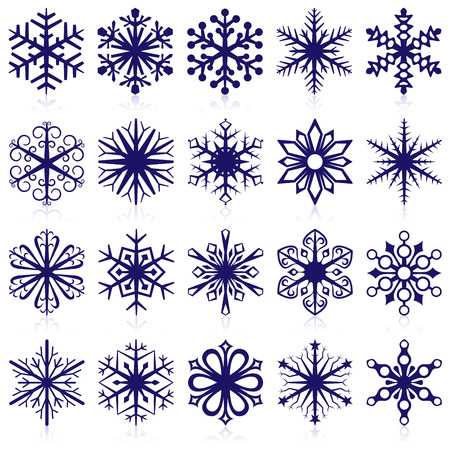 snowflake: Vector collection of snowflake shapes isolated on white background.