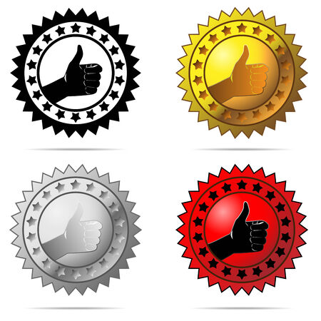 Vector labels with thumb up sign symbolizing best choice, best price, high quality, etc. isolated on white background. Stock Vector - 5571541