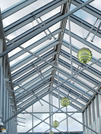 roof beam: Metal and glass translucent roof zenith skylight structure.