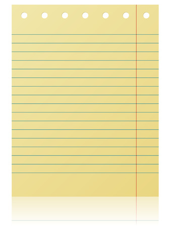 scratch pad: Notepad lined yellow page isolated on white background. Illustration