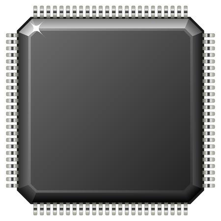 componentes: Ilustraci�n vectorial de microprocesador aislado sobre fondo blanco. Vectores
