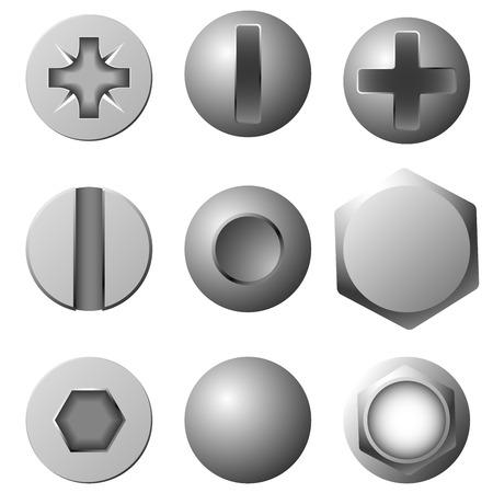 tuercas y tornillos: Conjunto de vectores de tornillos, tornillos y remaches aislados sobre fondo blanco.