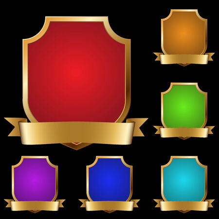 Vector set of varicolored decorative golden shields with banner isolated on black background. Stock Vector - 5599124