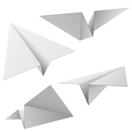 Vector set of paper planes isolated on white background. Vector