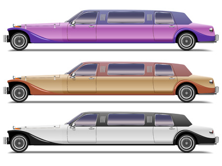 Vector set of old-styled realistic limousines isolated on white background. Side view.  Vector