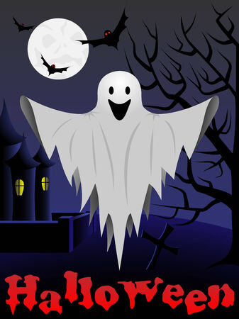 Tarjeta de Halloween con vuelos fantasma y el castillo y el árbol en el fondo.