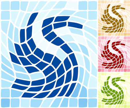Abstract artistic tile stylized swan shape background. Vector