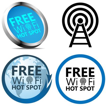 wifi access: Wi-Fi gratuito segni di accesso a Internet isolato su sfondo bianco.