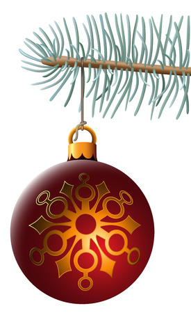christmas sphere: Vector illustration of christmas ball hanging on blue spruce branch isolated on white background. Illustrator mesh is used for spruce branch and cord. Illustration