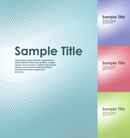 title page: Plantilla de vector del t�tulo de p�gina de negocios semitonos austero con copyspace en cuatro esquemas de color.