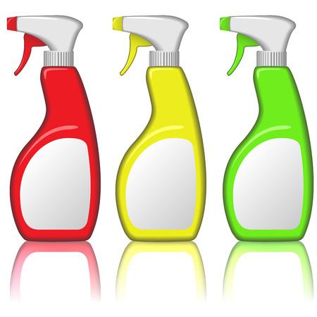 disinfectant:  set of blank spray bottles isolated on white background.