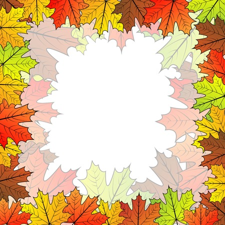 free fall: Autumnal maple leaf background with copyspace in the center.