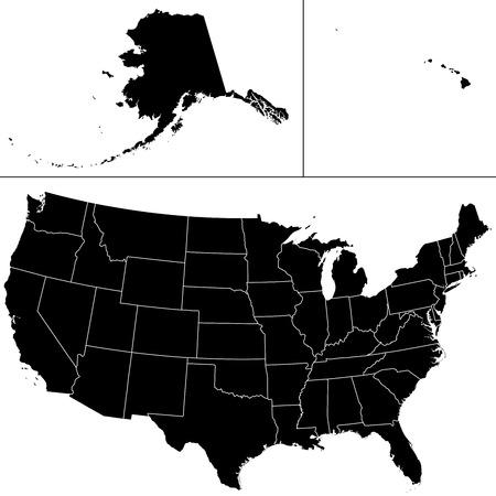 Forme détaillée des États-Unis d'Amérique, y compris l'Alaska et Hawaii.