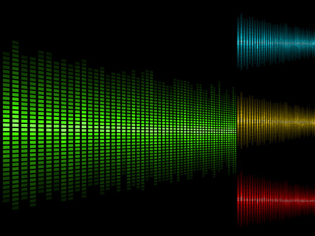 Abstract waveform background in four color schemes.