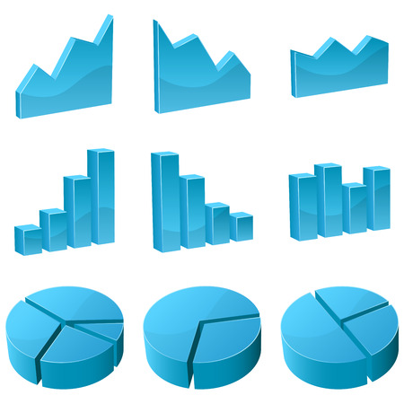 set of 3D graph icons isolated on white background. Stock Vector - 5656038
