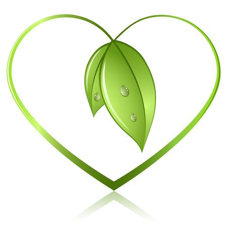 amabilidad: Brotes verdes en forma de corazón aislado sobre fondo blanco. Concepto de ecología de conservación de iconos.
