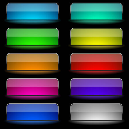 color reflection: Vector set of varicolored glowing rectangular buttons.