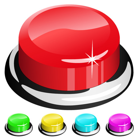 activacion: Ilustraci�n de 3D bot�n rojo aislado en blanco con cuatro muestras de color.