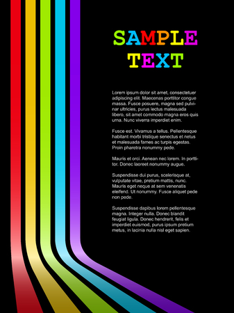 multicoloured: Abstract colorful bent stripes vector background with black copy space.