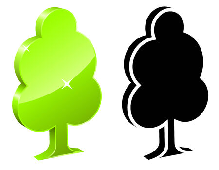 Single 3D tree icon isolated on white background. Ecology concept. Stock Vector - 5784965