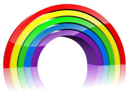 Abstract colorful 3D rainbow isolated on white background. Stock Vector - 5784961