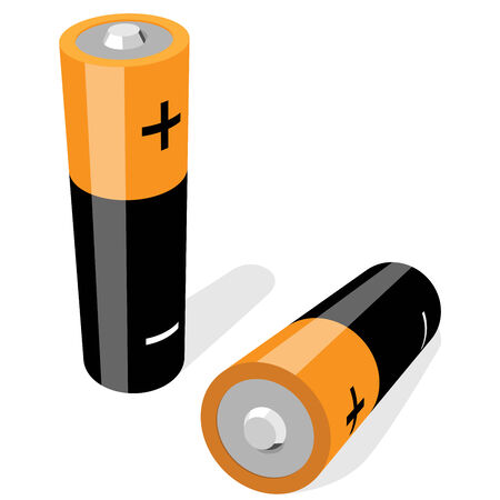 alkaline: illustration of two AA-size batteries isolated on white background. No gradients or effects .