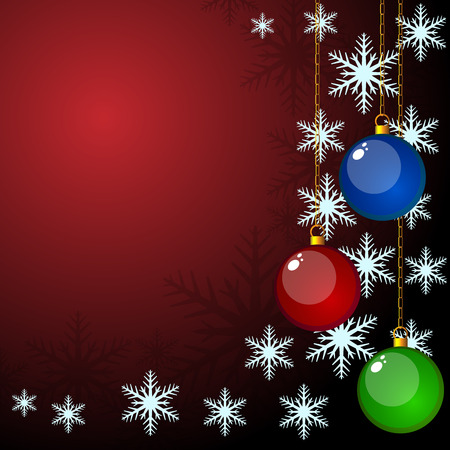 snow chain: Christmas card with hanging baubles and snowflake shapes.