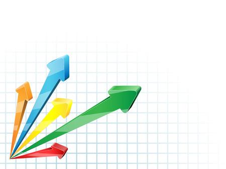 rosnąco: Abstrakcyjna konkurencyjnych strzaÅ'ki 3D firmy wektora tÅ'a. Ilustracja