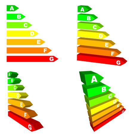 eficiencia energetica: Conjunto de vector de escalas de eficiencia de energ�a aislados sobre fondo blanco. No degradados o efectos.