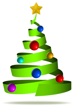 spruce: Abstract ribbon like decorated Christmas tree isolated on white background. Illustration