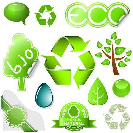 Vector set of environmental icons and labels isolated on white background. Stock Vector - 5872216