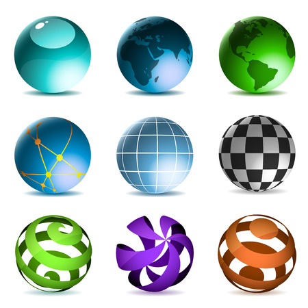 Globes and spheres icons set isolated on white background. Vector