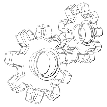 designed: Pencil sketch stylized 3D cogwheels isolated on white background.