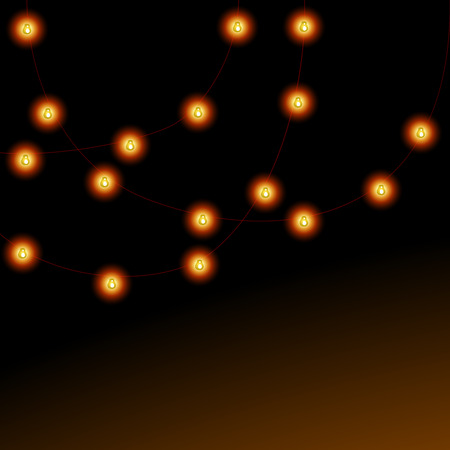 hanging string: Christmas lights garlands vector background with copy space.