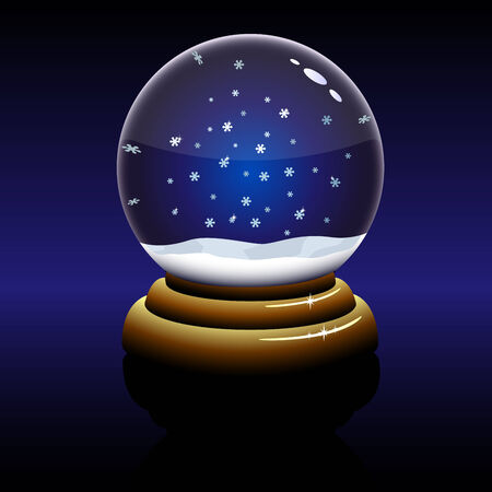 sphere standing: Empty Christmas glass globe with falling snowflakes inside isolated on dark background.