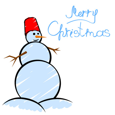 Christmas greeting card with smiling snowman in childs drawing style. No gradients or effects. Vector