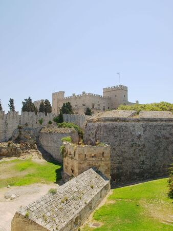 Rhodes old town walls with Grand Master's Palace in the background, Greece Stock Photo - 5997674