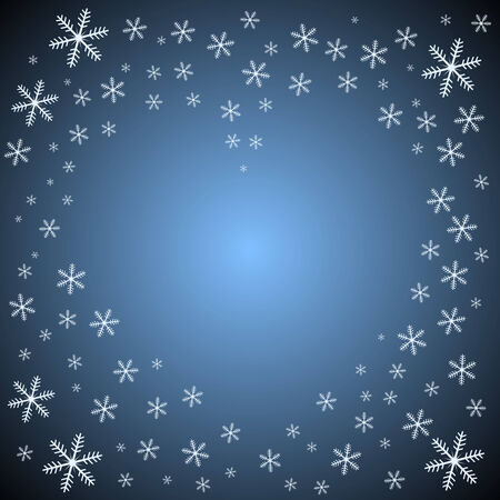 Blue background with snowflakes forming heart shape. Vector