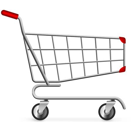 空っぽのショッピング カートの白い背景で隔離の側面図です。