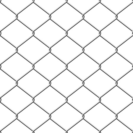 chained link: Realistic wire chainlink fence seamless vector background.