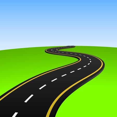 Ilustración vectorial de carretera abstracta va al horizonte.  Ilustración de vector