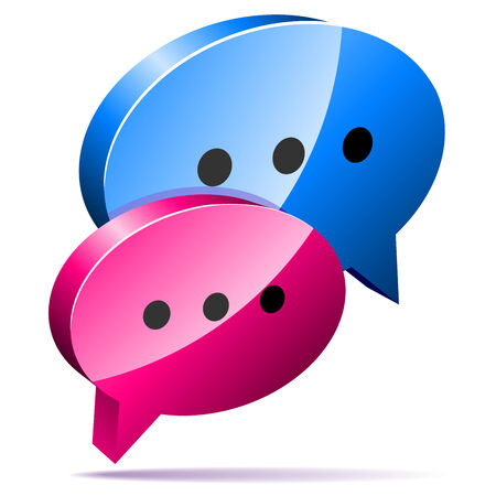 discussion forum: 3D speech bubbles. Blog, chat or forum web icon.